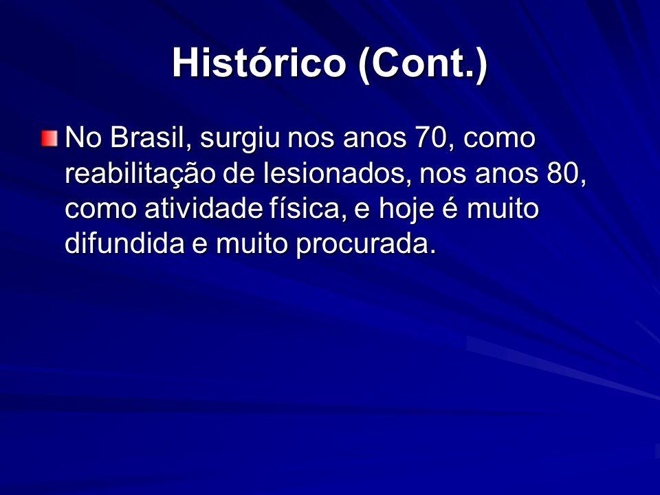 Histórico (Cont.) No Brasil, surgiu nos anos 70, como reabilitação de lesionados, nos anos 80, como atividade física, e hoje é muito difundida e muito