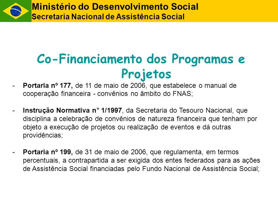 Co-Financiamento dos Programas e Projetos -Portaria nº 177, de 11 de maio de 2006, que estabelece o manual de cooperação financeira - convênios no âmb