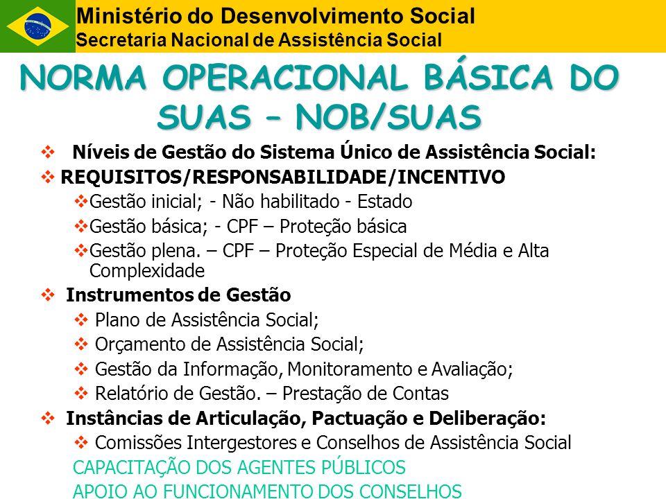 NORMA OPERACIONAL BÁSICA DO SUAS – NOB/SUAS Níveis de Gestão do Sistema Único de Assistência Social: REQUISITOS/RESPONSABILIDADE/INCENTIVO Gestão inic