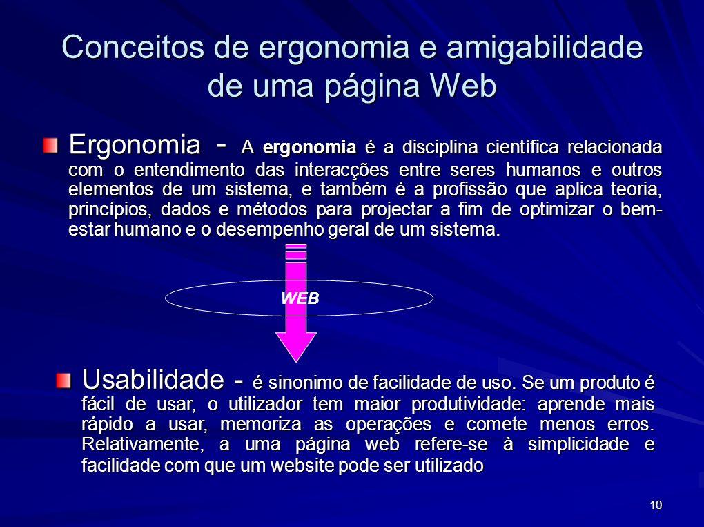 10 Conceitos de ergonomia e amigabilidade de uma página Web Ergonomia - A ergonomia é a disciplina científica relacionada com o entendimento das inter