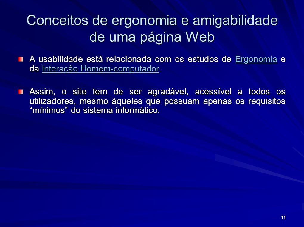 11 Conceitos de ergonomia e amigabilidade de uma página Web A usabilidade está relacionada com os estudos de Ergonomia e da Interação Homem-computador