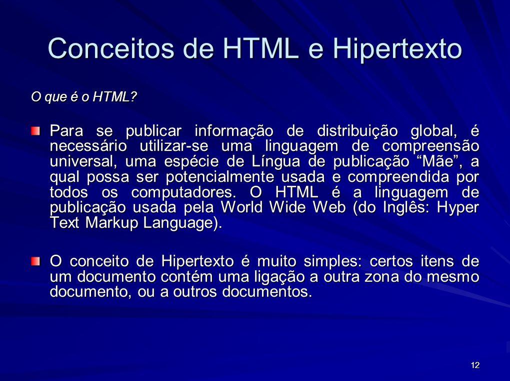 12 Conceitos de HTML e Hipertexto O que é o HTML? Para se publicar informação de distribuição global, é necessário utilizar-se uma linguagem de compre