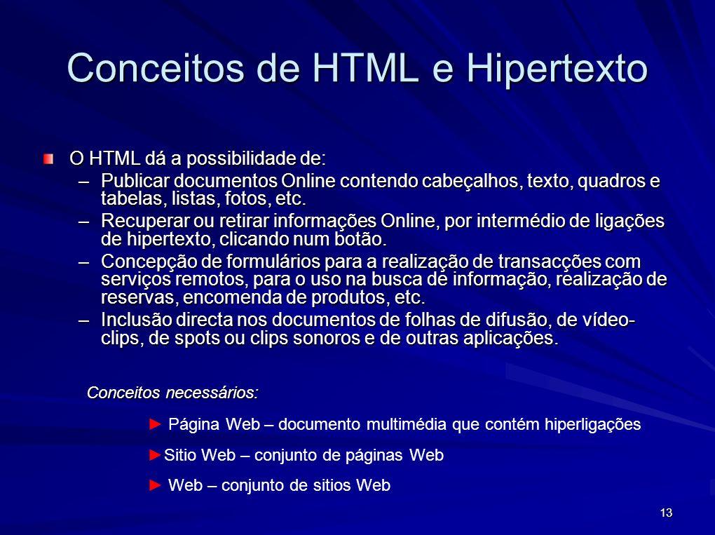 13 Conceitos de HTML e Hipertexto O HTML dá a possibilidade de: –Publicar documentos Online contendo cabeçalhos, texto, quadros e tabelas, listas, fot