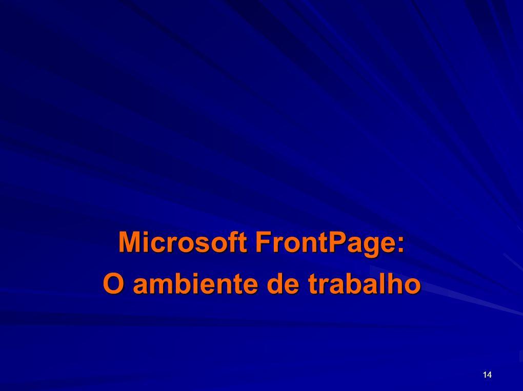 14 Microsoft FrontPage: O ambiente de trabalho