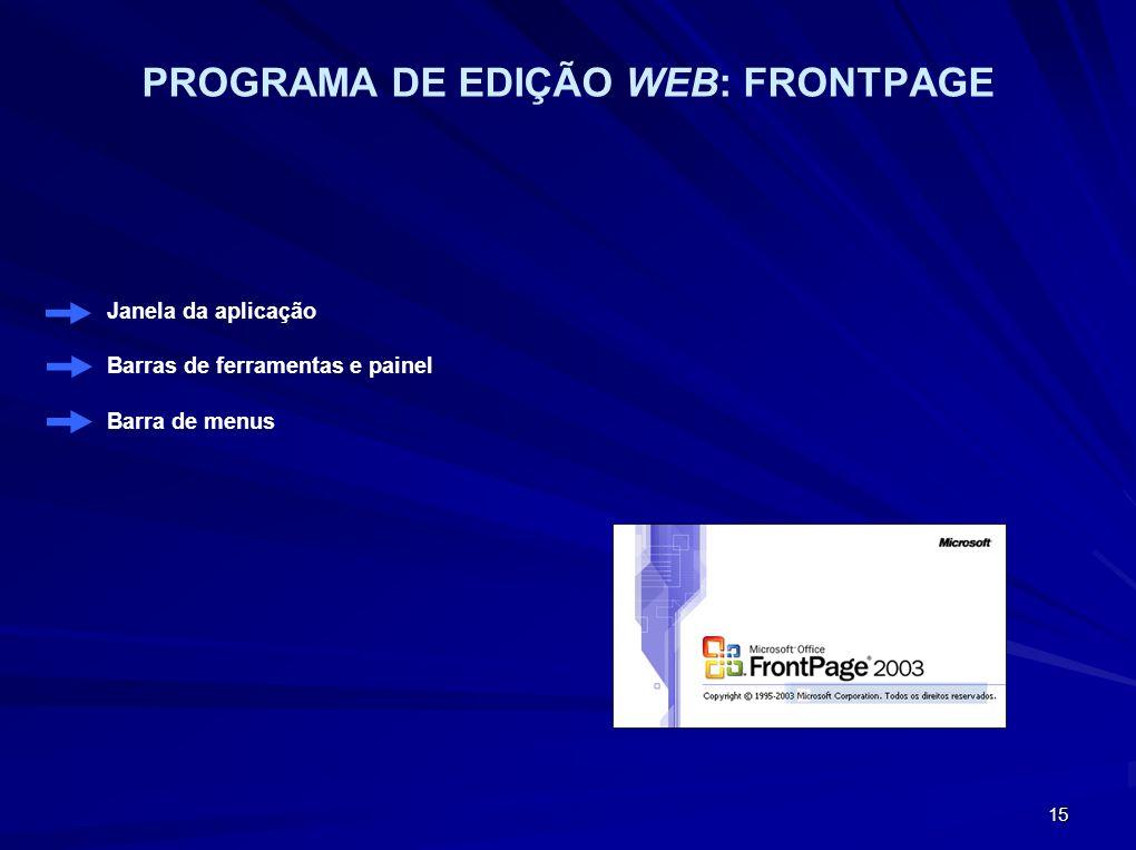 15 PROGRAMA DE EDIÇÃO WEB: FRONTPAGE Janela da aplicação Barras de ferramentas e painel Barra de menus