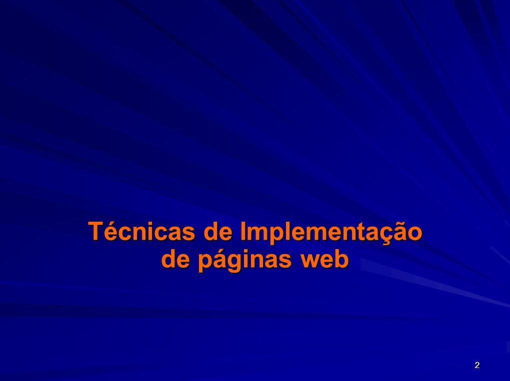 2 Técnicas de Implementação de páginas web
