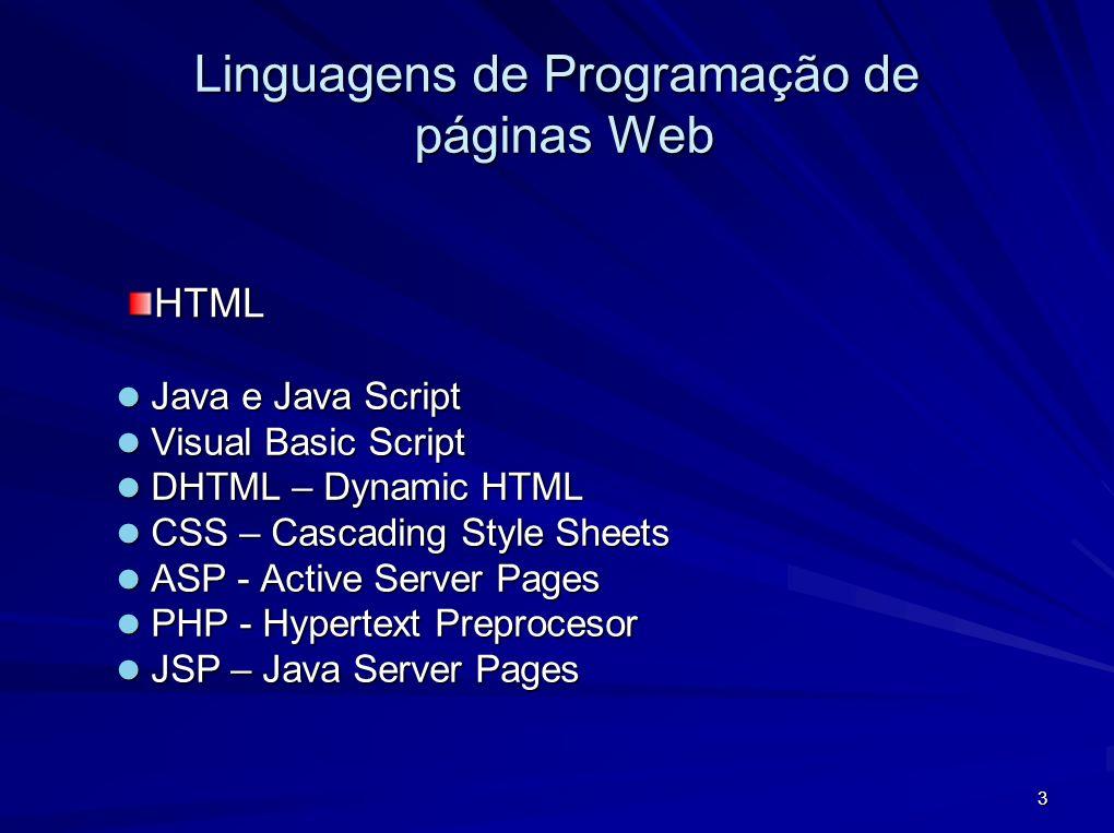 3 Linguagens de Programação de páginas Web Java e Java Script Java e Java Script Visual Basic Script Visual Basic Script DHTML – Dynamic HTML DHTML –