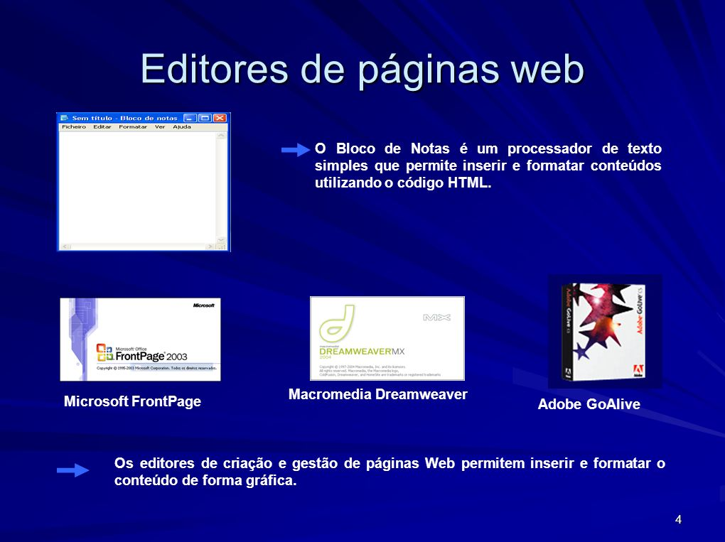4 Editores de páginas web O Bloco de Notas é um processador de texto simples que permite inserir e formatar conteúdos utilizando o código HTML. Micros