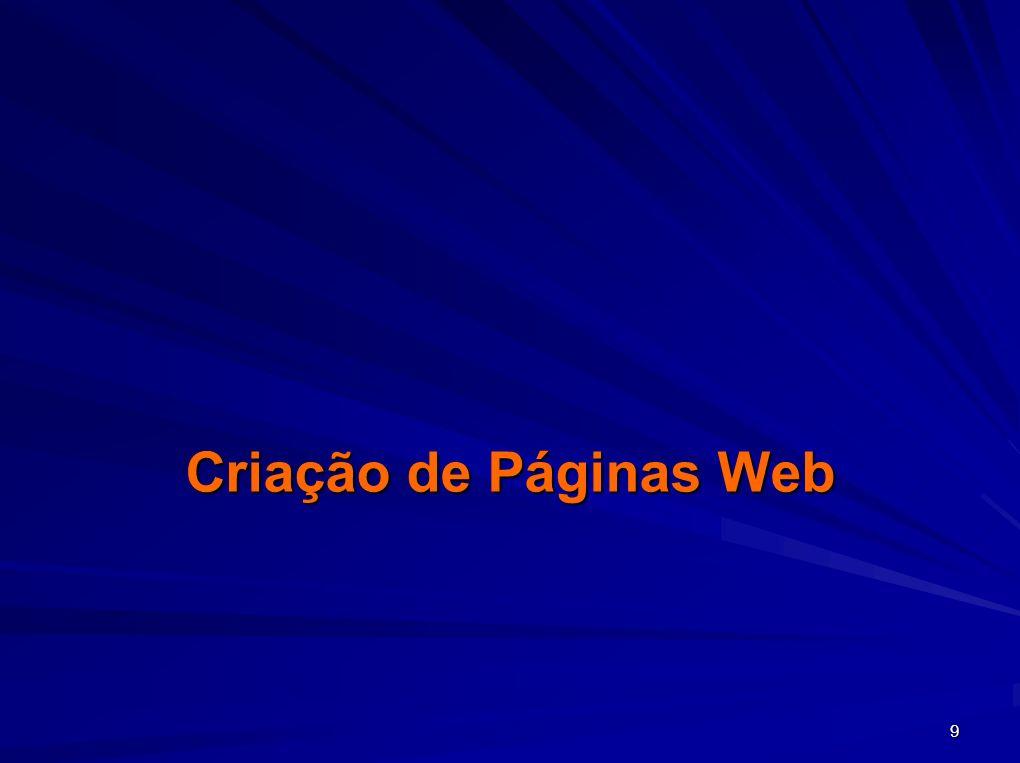 30 Criação e Gestão do sitio Web Criação, abertura e guarda de páginas –Menu Ficheiro, opção Guardar, no painel Página em Branco –Na barra de ferramentas – Botão Guardar