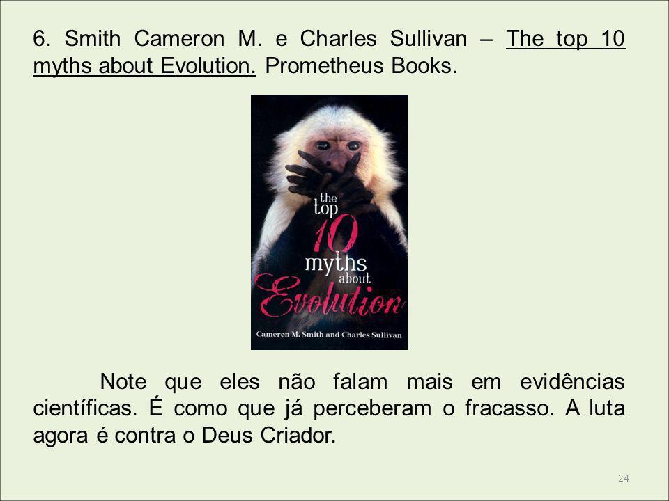 6. Smith Cameron M. e Charles Sullivan – The top 10 myths about Evolution. Prometheus Books. Note que eles não falam mais em evidências científicas. É