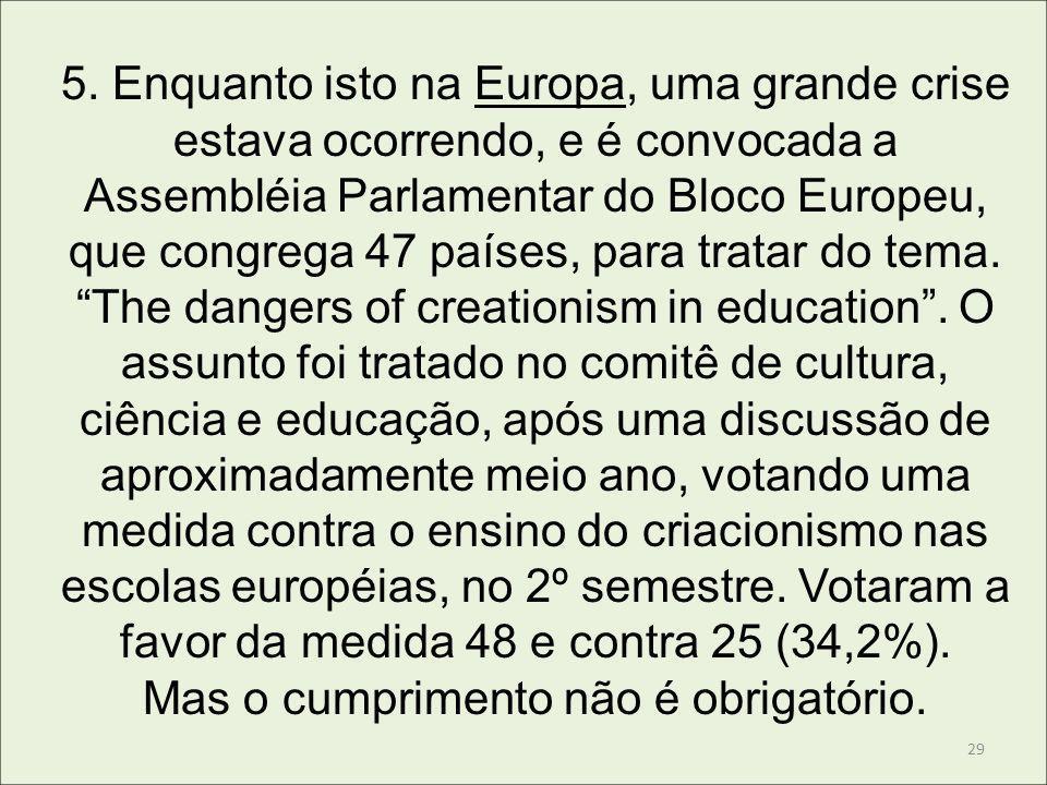 5. Enquanto isto na Europa, uma grande crise estava ocorrendo, e é convocada a Assembléia Parlamentar do Bloco Europeu, que congrega 47 países, para t