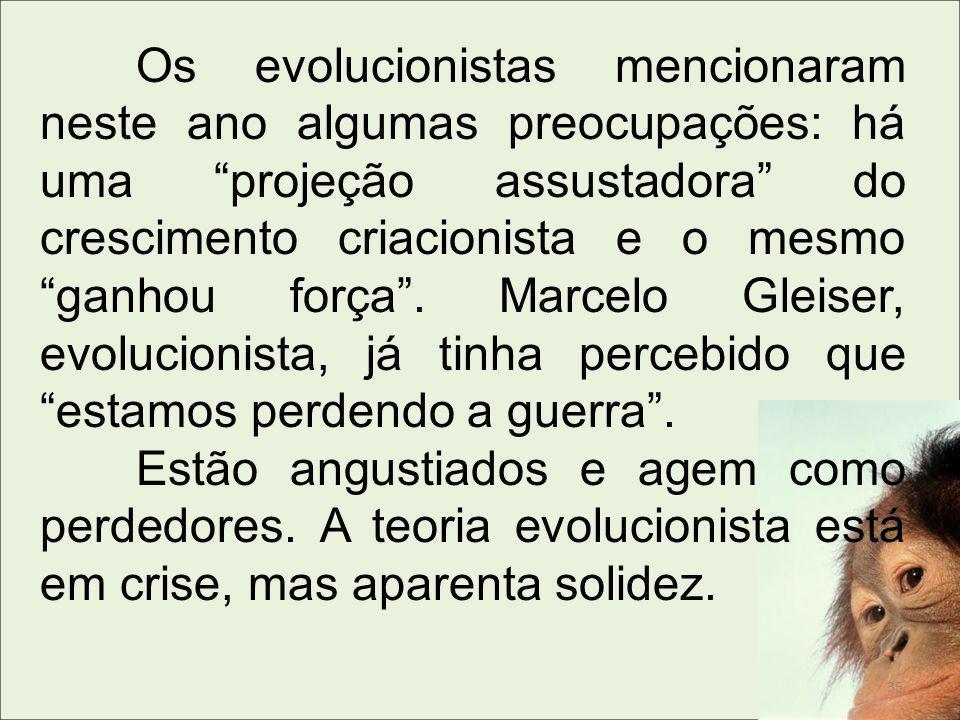 Os evolucionistas mencionaram neste ano algumas preocupações: há uma projeção assustadora do crescimento criacionista e o mesmo ganhou força. Marcelo