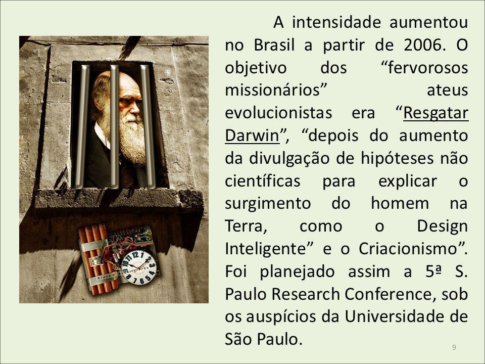 A intensidade aumentou no Brasil a partir de 2006. O objetivo dos fervorosos missionários ateus evolucionistas era Resgatar Darwin, depois do aumento