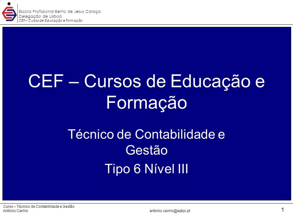 Escola Profissional Bento de Jesus Caraça Delegação de Lisboa CEF – Cursos de Educação e Formação CEF - TCG Curso – Técnico de Contabilidade e Gestão António Carmoantonio.carmo@epbjc.pt 12 4.