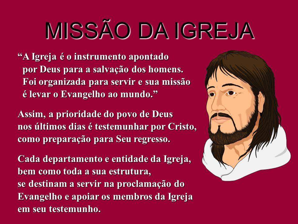 MISSÃO DA IGREJA A Igreja é o instrumento apontado por Deus para a salvação dos homens. Foi organizada para servir e sua missão é levar o Evangelho ao