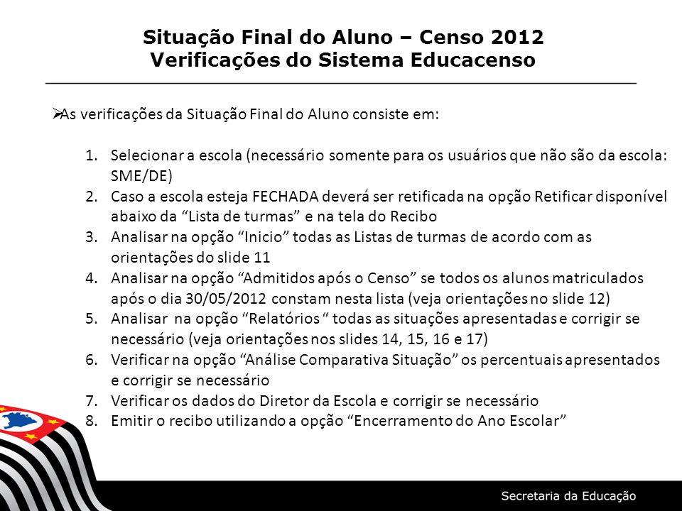 Situação Final do Aluno – Censo 2012 Verificações do Sistema Educacenso As verificações da Situação Final do Aluno consiste em: 1.Selecionar a escola