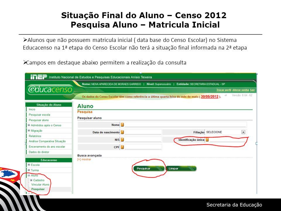 Situação Final do Aluno – Censo 2012 Pesquisa Aluno – Matricula Inicial Alunos que não possuem matricula inicial ( data base do Censo Escolar) no Sist