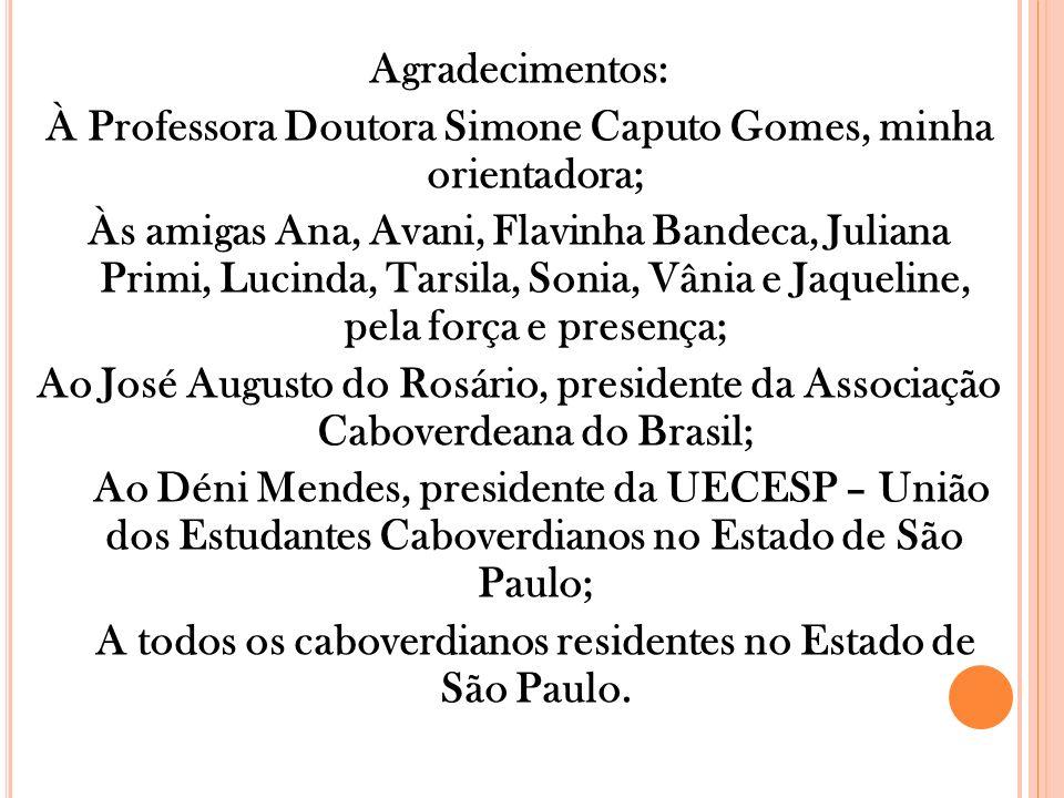 Agradecimentos: À Professora Doutora Simone Caputo Gomes, minha orientadora; Às amigas Ana, Avani, Flavinha Bandeca, Juliana Primi, Lucinda, Tarsila,