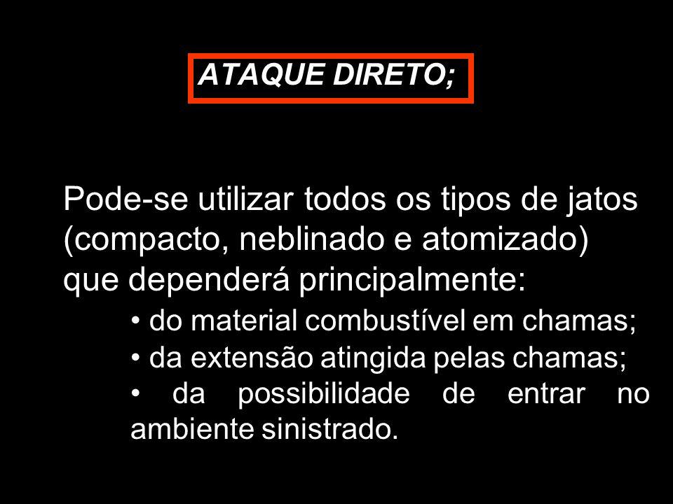 ATAQUE DIRETO; Pode-se utilizar todos os tipos de jatos (compacto, neblinado e atomizado) que dependerá principalmente: do material combustível em cha
