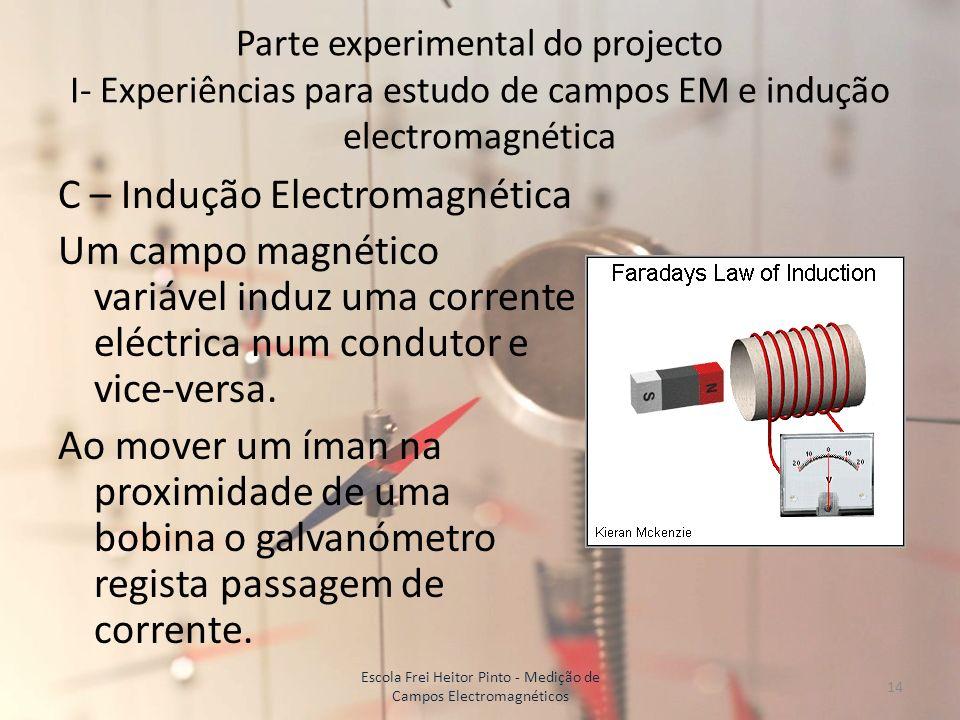 Parte experimental do projecto I- Experiências para estudo de campos EM e indução electromagnética C – Indução Electromagnética Um campo magnético var