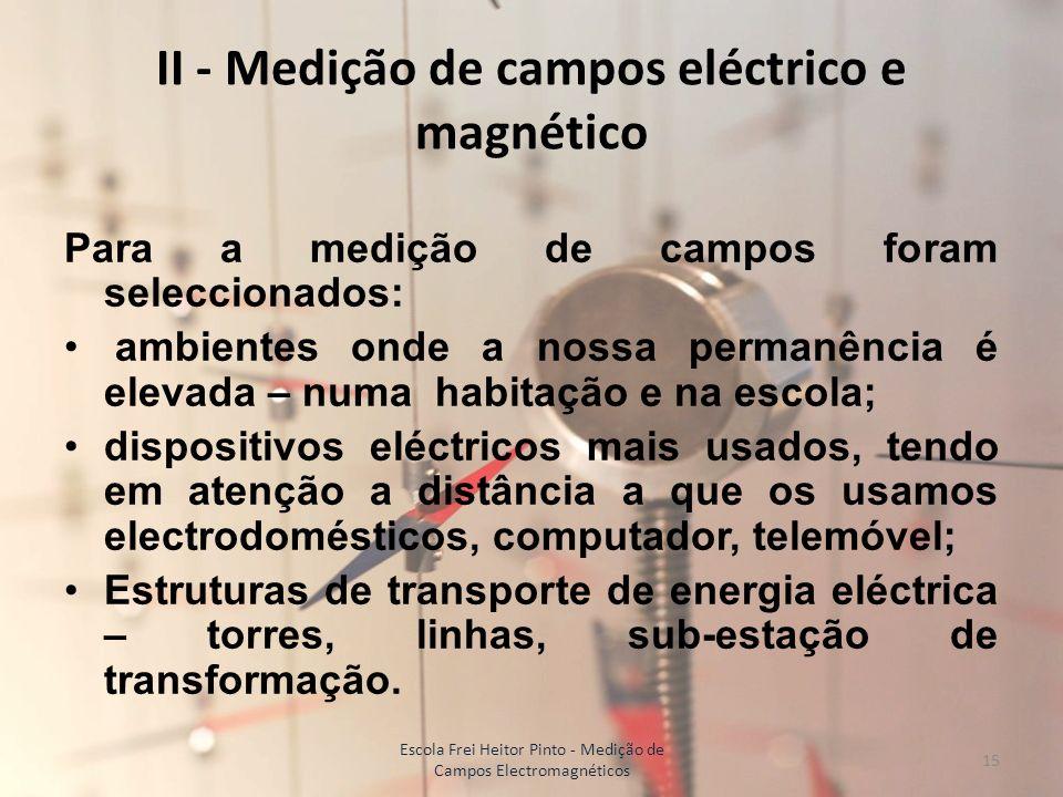 II - Medição de campos eléctrico e magnético Para a medição de campos foram seleccionados: ambientes onde a nossa permanência é elevada – numa habitaç