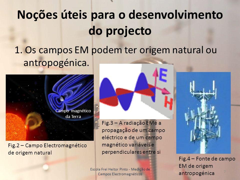 Noções úteis para o desenvolvimento do projecto 1. Os campos EM podem ter origem natural ou antropogénica. Campo magnético da Terra Fig.2 – Campo Elec