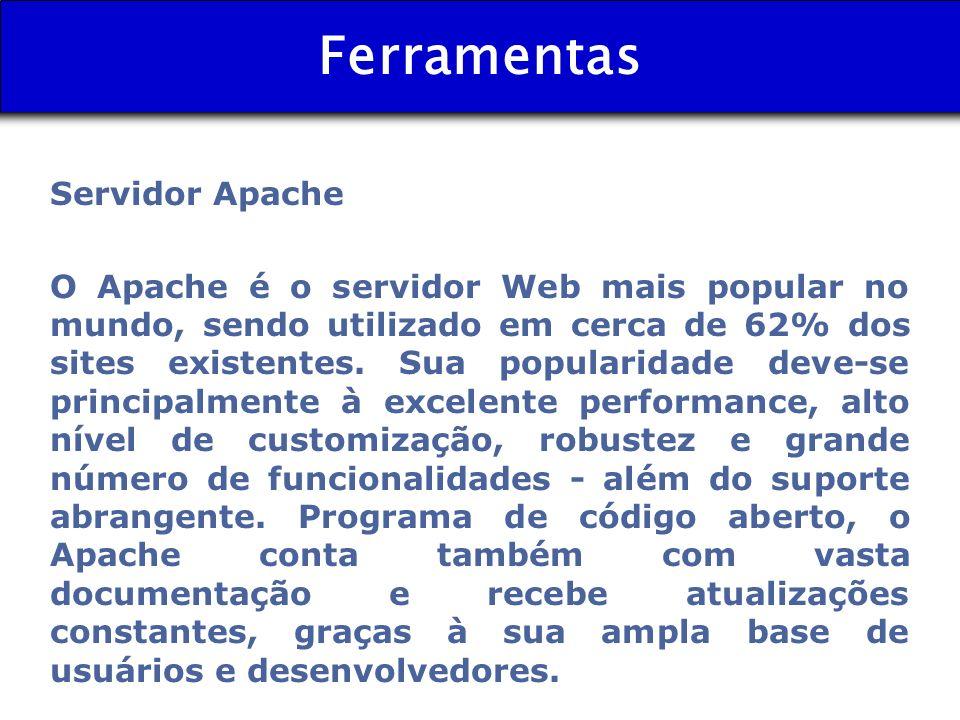 Ferramentas Servidor Apache O Apache é o servidor Web mais popular no mundo, sendo utilizado em cerca de 62% dos sites existentes. Sua popularidade de