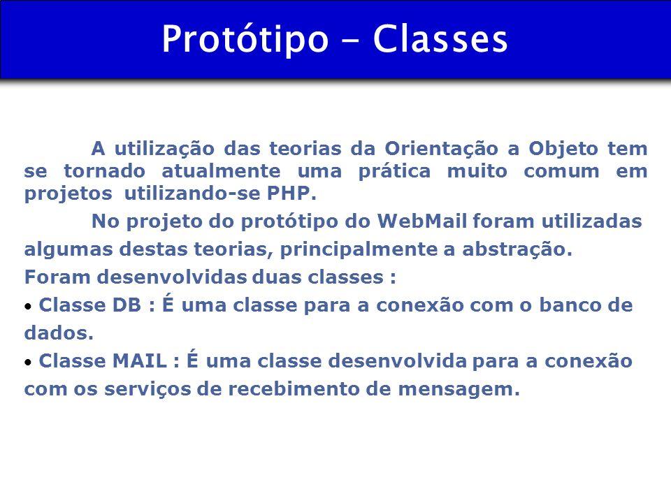 Protótipo - Classes A utilização das teorias da Orientação a Objeto tem se tornado atualmente uma prática muito comum em projetos utilizando-se PHP. N