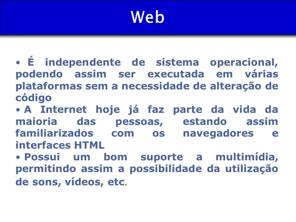Web É independente de sistema operacional, podendo assim ser executada em várias plataformas sem a necessidade de alteração de código A Internet hoje
