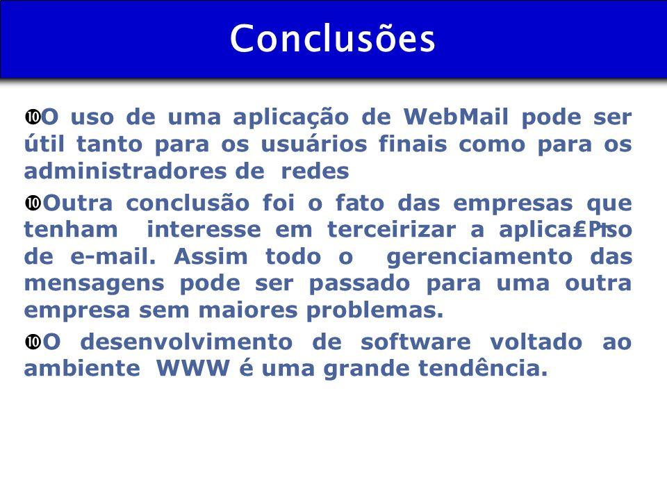 Conclusões O uso de uma aplicação de WebMail pode ser útil tanto para os usuários finais como para os administradores de redes • Outra conclusão foi o