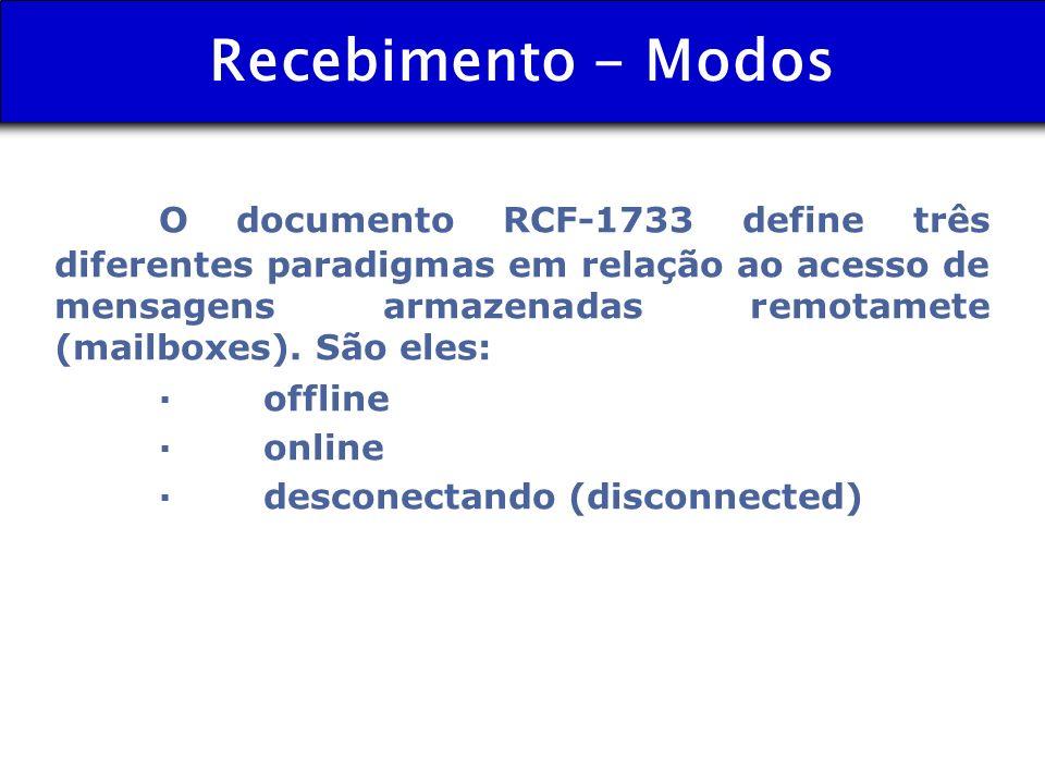 Recebimento - Modos O documento RCF-1733 define três diferentes paradigmas em relação ao acesso de mensagens armazenadas remotamete (mailboxes). São e