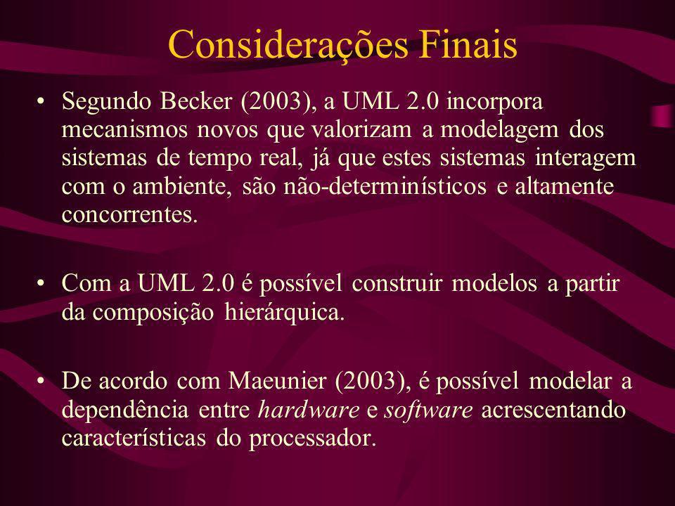 Considerações Finais Segundo Becker (2003), a UML 2.0 incorpora mecanismos novos que valorizam a modelagem dos sistemas de tempo real, já que estes si