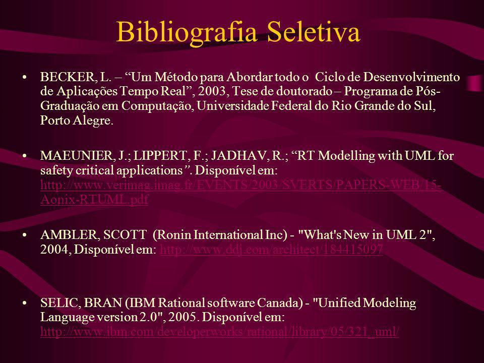 Bibliografia Seletiva BECKER, L. – Um Método para Abordar todo o Ciclo de Desenvolvimento de Aplicações Tempo Real, 2003, Tese de doutorado – Programa