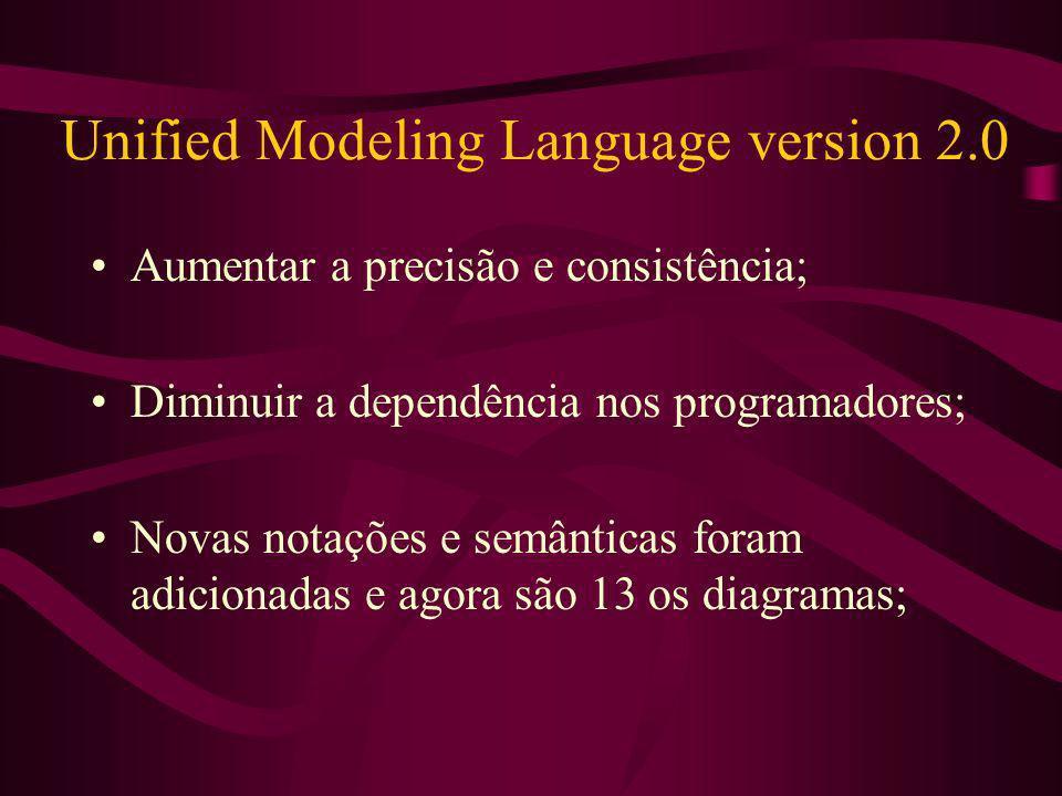 Unified Modeling Language version 2.0 Aumentar a precisão e consistência; Diminuir a dependência nos programadores; Novas notações e semânticas foram