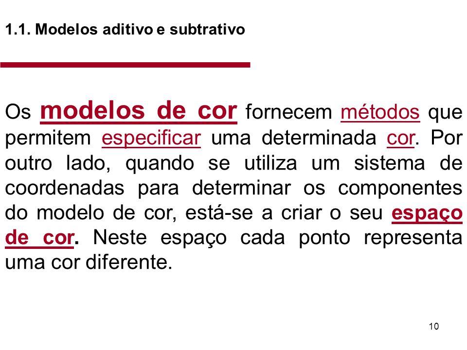 10 1.1. Modelos aditivo e subtrativo Os modelos de cor fornecem métodos que permitem especificar uma determinada cor. Por outro lado, quando se utiliz