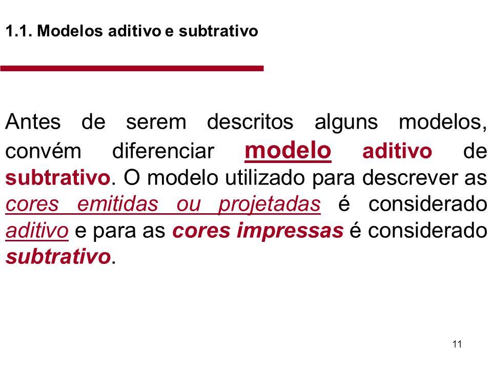 11 1.1. Modelos aditivo e subtrativo Antes de serem descritos alguns modelos, convém diferenciar modelo aditivo de subtrativo. O modelo utilizado para