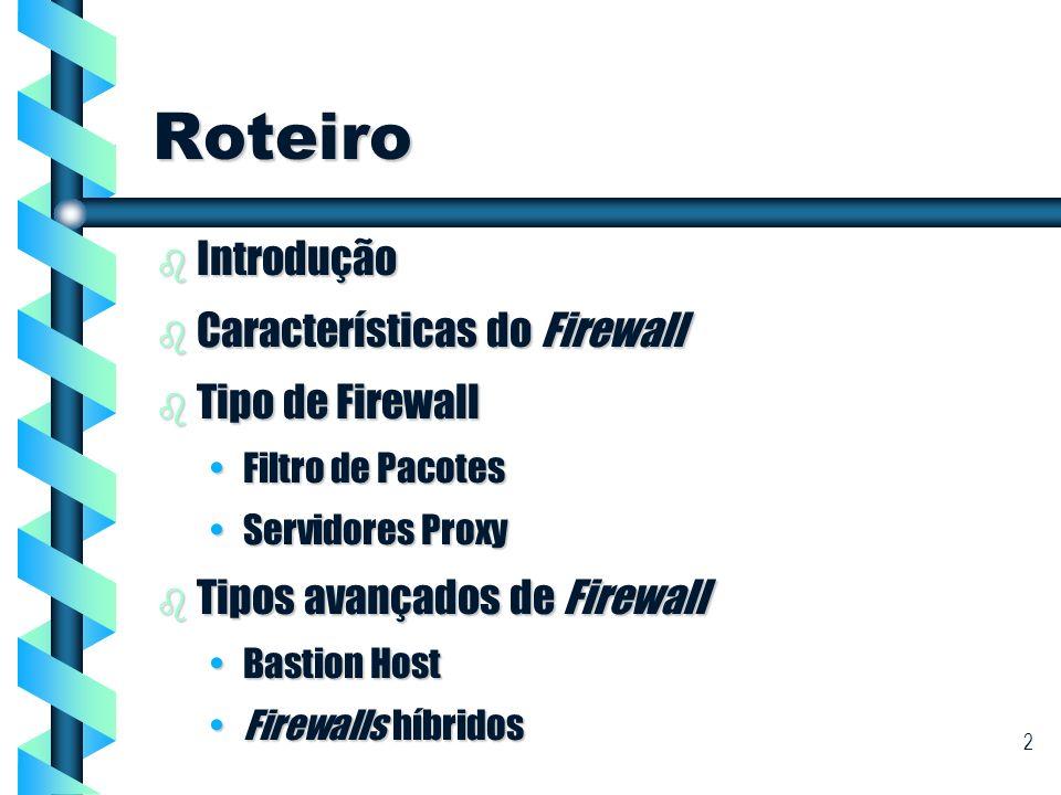 3 Roteiro (cont) b Arquiteturas de Firewall Screened HostScreened Host Screened SubnetScreened Subnet b Conclusão
