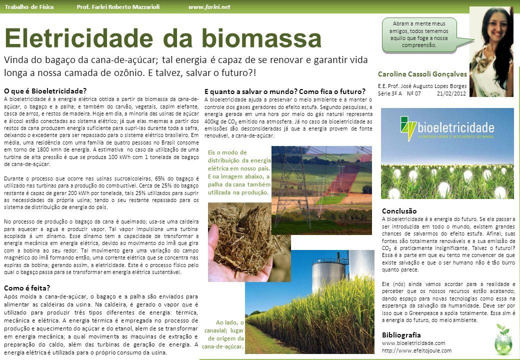 Trabalho de Física Prof. Farlei Roberto Mazzarioli www.farlei.net Eletricidade da biomassa Vinda do bagaço da cana-de-açúcar; tal energia é capaz de s