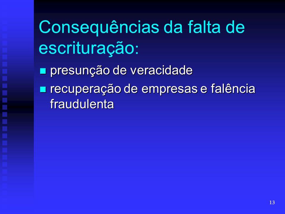 13 Consequências da falta de escrituração : presunção de veracidade presunção de veracidade recuperação de empresas e falência fraudulenta recuperação de empresas e falência fraudulenta