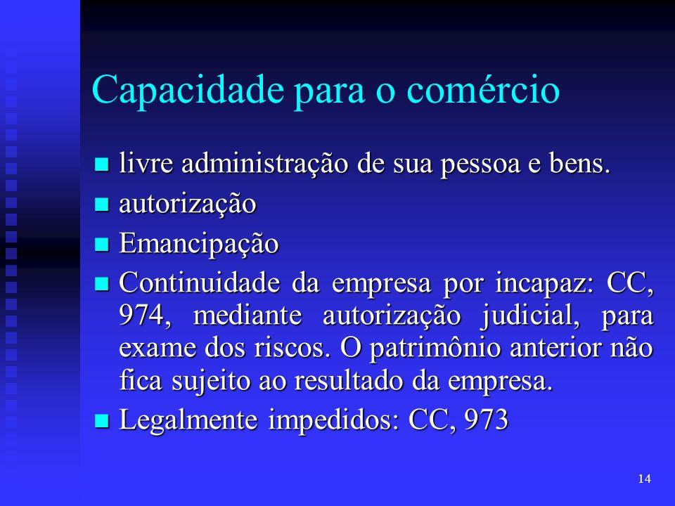 14 Capacidade para o comércio livre administração de sua pessoa e bens. livre administração de sua pessoa e bens. autorização autorização Emancipação