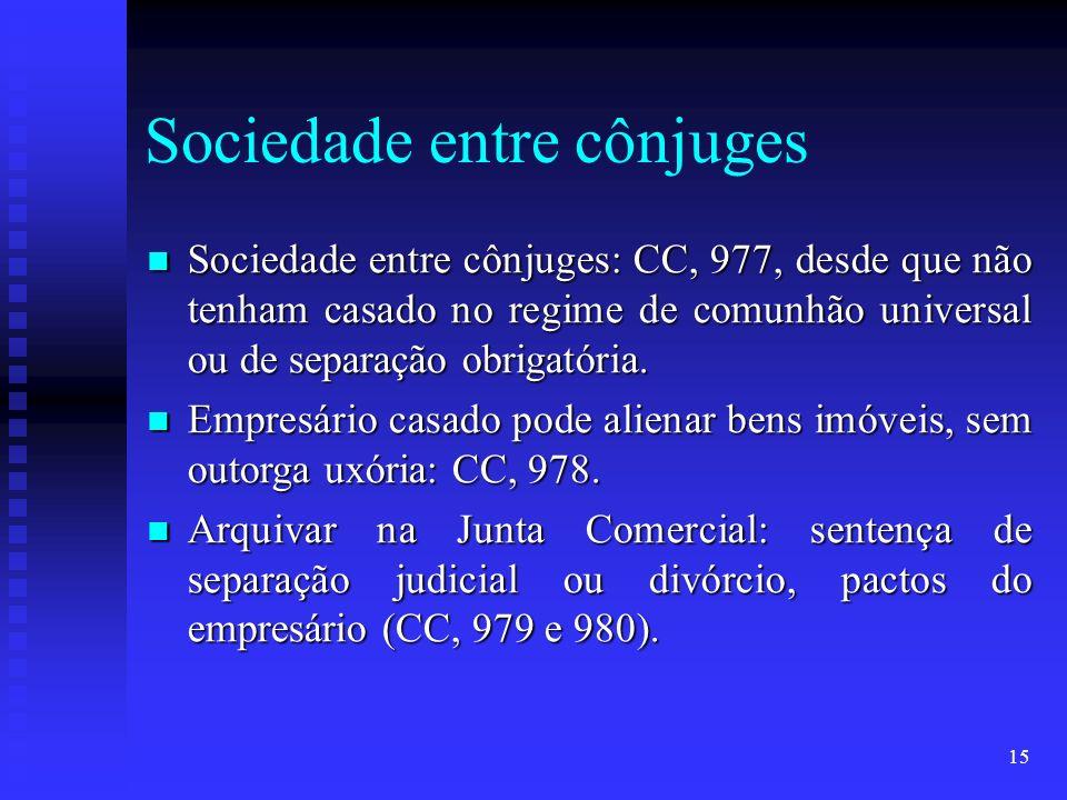 15 Sociedade entre cônjuges Sociedade entre cônjuges: CC, 977, desde que não tenham casado no regime de comunhão universal ou de separação obrigatória.
