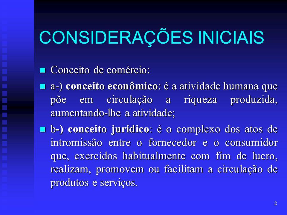 2 CONSIDERAÇÕES INICIAIS Conceito de comércio: Conceito de comércio: a-) conceito econômico: é a atividade humana que põe em circulação a riqueza prod