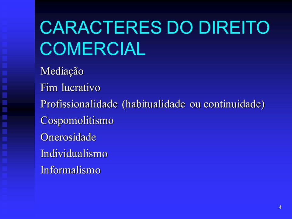 4 CARACTERES DO DIREITO COMERCIAL Mediação Fim lucrativo Profissionalidade (habitualidade ou continuidade) CospomolitismoOnerosidadeIndividualismoInformalismo