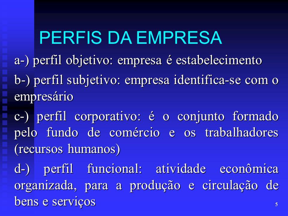 5 PERFIS DA EMPRESA a-) perfil objetivo: empresa é estabelecimento b-) perfil subjetivo: empresa identifica-se com o empresário c-) perfil corporativo