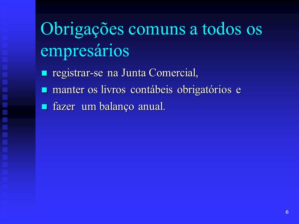 6 Obrigações comuns a todos os empresários registrar-se na Junta Comercial, registrar-se na Junta Comercial, manter os livros contábeis obrigatórios e manter os livros contábeis obrigatórios e fazer um balanço anual.