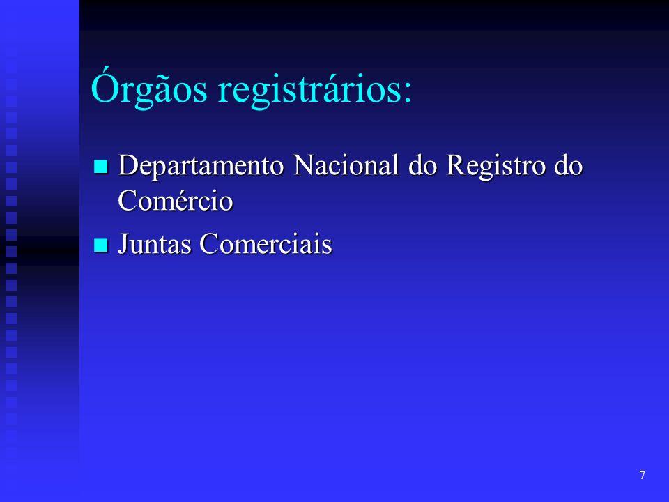 7 Órgãos registrários: Departamento Nacional do Registro do Comércio Departamento Nacional do Registro do Comércio Juntas Comerciais Juntas Comerciais