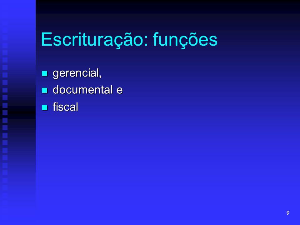 9 Escrituração: funções gerencial, gerencial, documental e documental e fiscal fiscal
