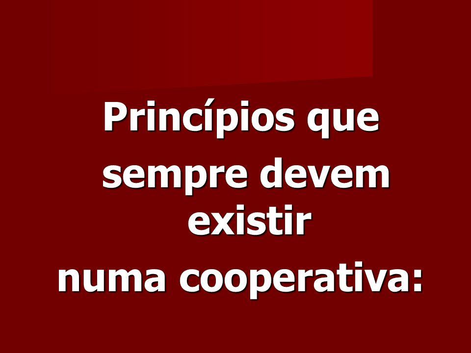 Princípios que sempre devem existir sempre devem existir numa cooperativa: