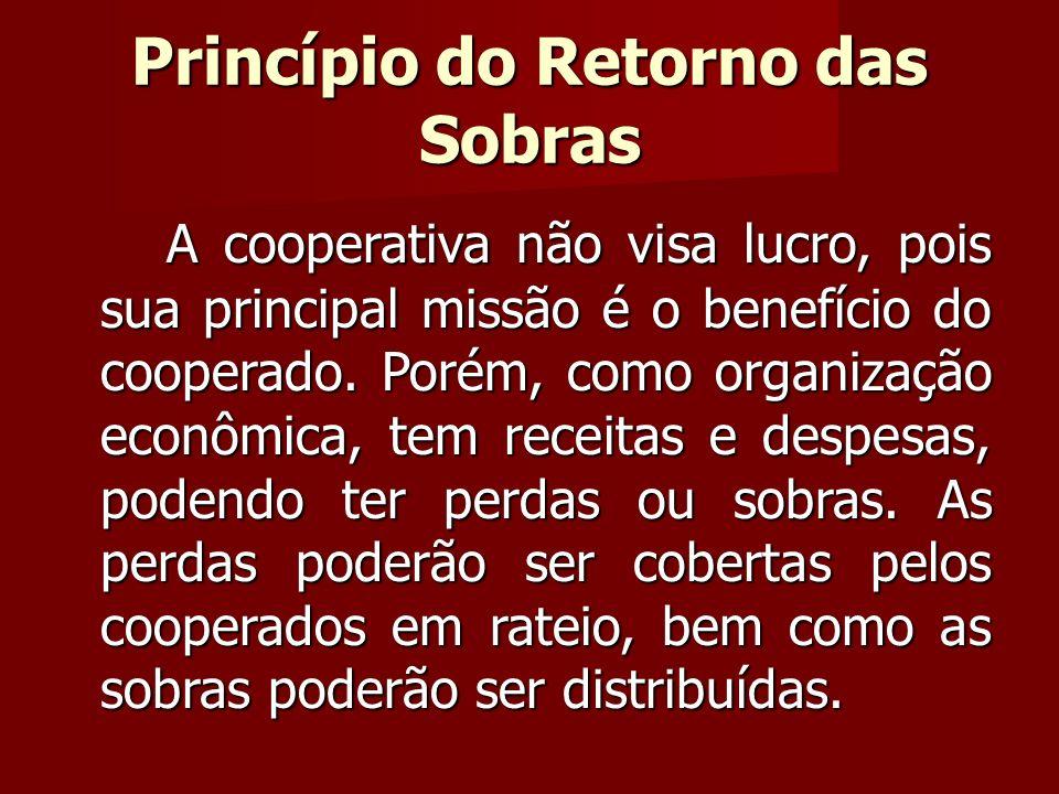 A cooperativa não visa lucro, pois sua principal missão é o benefício do cooperado.