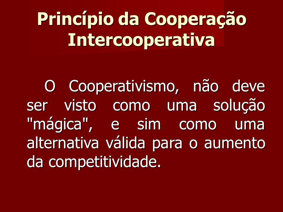O Cooperativismo, não deve ser visto como uma solução mágica , e sim como uma alternativa válida para o aumento da competitividade.
